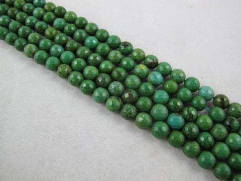 Nature Chinese Turquoise Faceted Round Green 8mm 15.5'' Per Strand 50pcs
