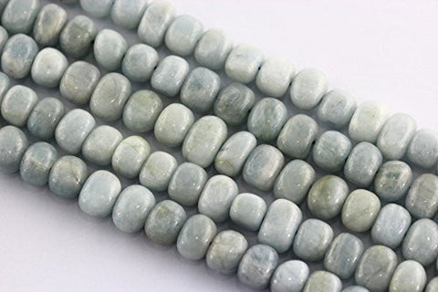 Aquamarine Natural Gemstone Beads Blue Color Gradualed Rondelle 6-9mm 100pcs 15.5''per Strand