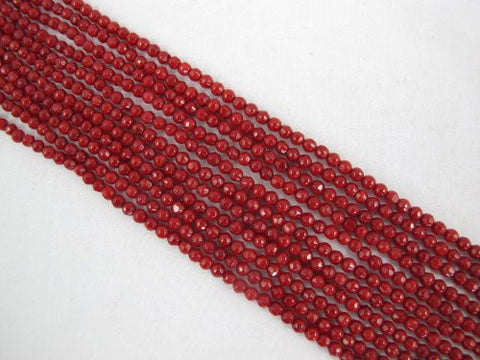 Coral Beads Bamboo Coral Dyed Red Color 3mm Faceted Round Shape 115pcs 16'' Per Strand