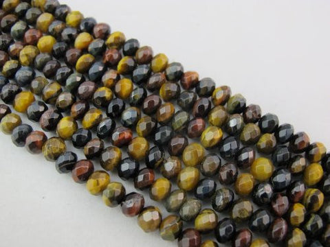 Tiger Eye Nature Gemstone Multi-color Faceted Rondelle 4x6mm 92pcs 16''per Strand