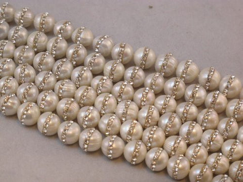 Fresh Water Pearl with One-line Rhinestone Round 10mm 40pcs 15.5'' Strand Beads Gemstone