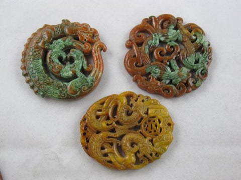 Jade Pendant Nature Jade Dyed Color Carving Picture Set of 3 Mixed Shape Mixed Color
