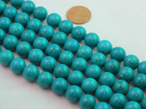 Nature Chinese Turquoise Round Blue 12mm 16'' Per Strand 35pcs