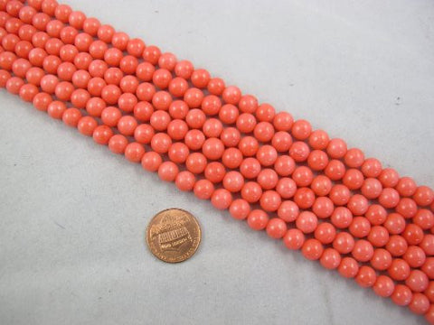 Coral Beads Bamboo Coral Dyed Pink Color 7-8mm Round Shape 52pcs 16'' Per Strand
