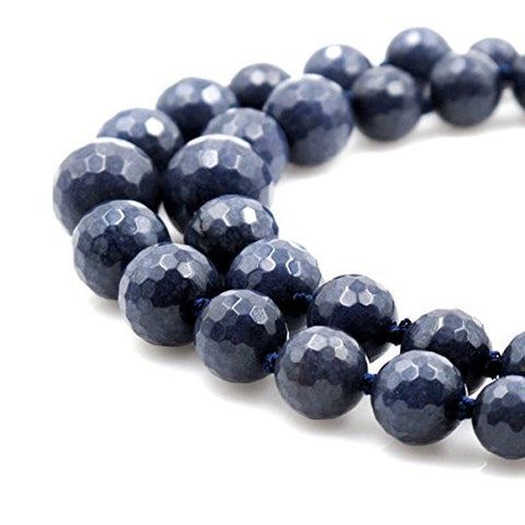 BRCbeads Gorgeous Faceted Dark Blue Dyed Jade Gemstone Round Loose Beads 8~16mm Approxi 15.5 inch 39pcs 1 Strand per Bag for Jewelry Making