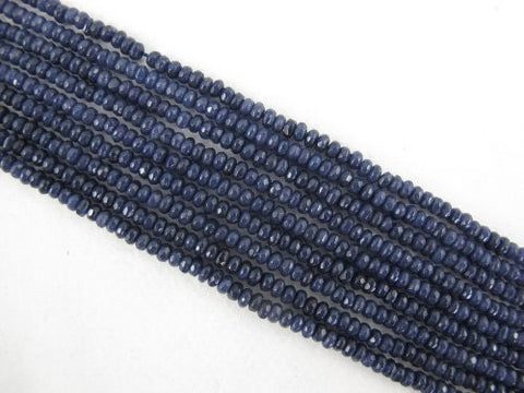 Mountain Jade (Dyed) Dark Blue Color 2x4mm Faceted Rondelle 150pcs 15.5'' Per Strand