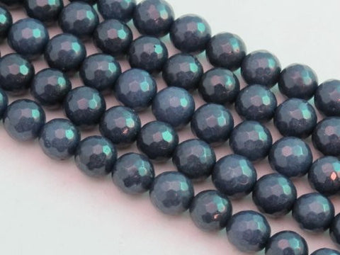 Mountain Jade (Dyed) Dark Blue 8mm Faceted Round 15.5'' 48pcs Per Strand