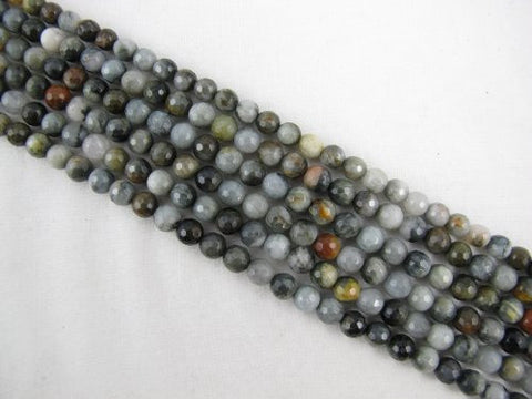 Eagle Eye Agate Natural Gemstone Faceted Round 6mm 66pcs 15.5'' Per Strand