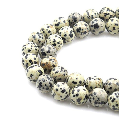 BRCbeads Gorgeous Natural Dalmatian Jasper Gemstone Round Loose Beads 12mm Approxi 15.5 inch 30pcs 1 Strand per Bag for Jewelry Making