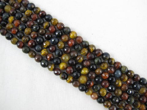 Tiger Eye Natural Gemstone Multi Color Faceted Round Shape 6mm 66pcs 15.5''per Strand Jewelry Making Beads