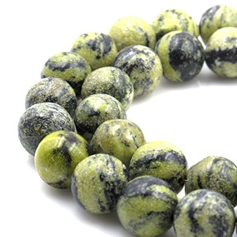 BRCbeads Gorgeous Natural Dark Green Serpentine Russian Jade Gemstone Round Loose Beads 18mm Approxi 15.5 inch 20pcs 1 Strand per Bag for Jewelry Making