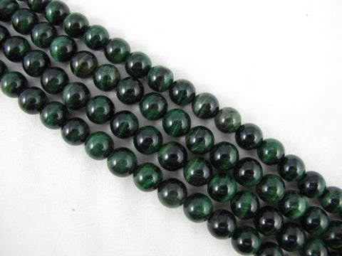 Tiger Eye Natural Gemstone Green Color Smooth Round Shape 10mm 39pcs 15.5''per Strand Jewelry Making Beads