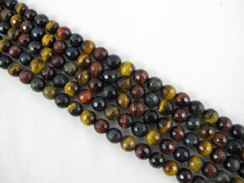 Tiger Eye Natural Gemstone Multi Color Faceted Round Shape 8mm 50pcs 15.5''per Strand Jewelry Making Beads