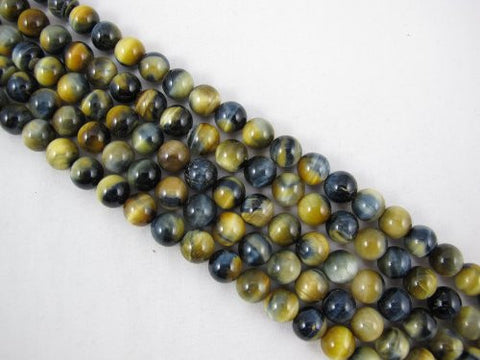 Tiger Eye Natural Gemstone Blue/Gold Color Smooth Round Shape 10mm 38pcs 15.5''per Strand Jewelry Making Beads