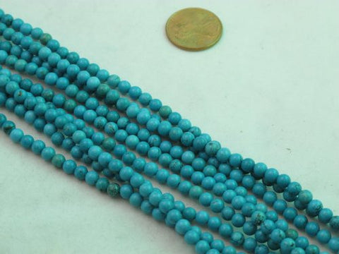 Nature Chinese Turquoise Round Blue 4mm 16'' Per Strand 99pcs