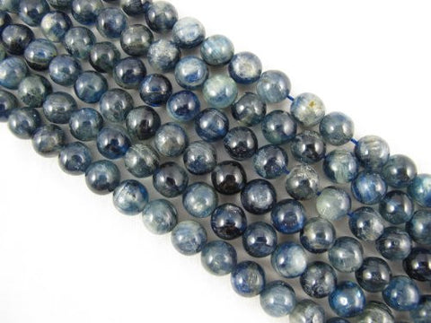 Kyanite Beads Natural Gemstone A Grade Dark Blue 8mm Round 49pcs 15.5""