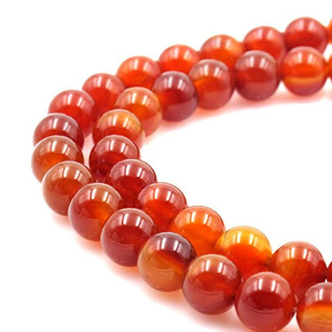 BRCbeads Gorgeous Natural Red Carnelian Gemstone Round Loose Beads 10mm Approxi 15.5 inch 30pcs 1 Strand per Bag for Jewelry Making