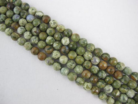 Rhyolite Natural Gemstone Faceted Round 6mm Green Color 70pcs 15.5'' Strand Gemstone Beads