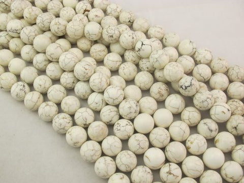 Magnesite Turqoise Dyed White Color Round Beads 16mm 25pcs 16'' Per Strand