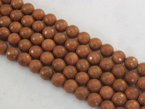 Sandstone Beads Gold Color 10mm Faceted Round 40pcs 15.5''