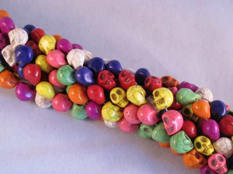 "10x12mm Multi-color Howlite Carved Skull Beads 16"" Strand"