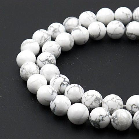 BRCbeads Gorgeous Natural White Howlite Gemstone Round Loose Beads 4mm Approxi 15.5 inch 88pcs 1 Strand per Bag for Jewelry Making