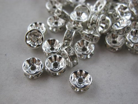 100 Pcs Glass Crystal Rondelle Spacer Bead Silver Plated 6mm Crystal White