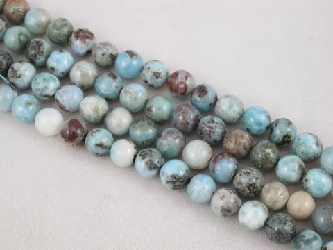 "Natural Larimar C Grade Gemstone Dominican Larimar 8mm Round 48pcs 15.5"" Per Strand Jewelry Making&design Beading"
