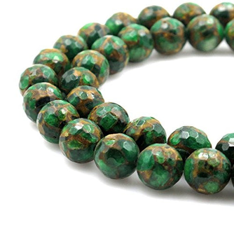 BRCbeads Gorgeous Synthetic Faceted Green Mosaic Quartz Gemstone Round Loose Beads 10mm Approxi 15.5 inch 35pcs 1 Strand per Bag for Jewelry Making