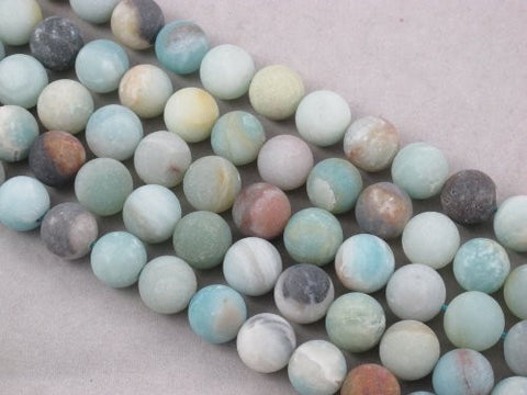 Amazonite Matte Natural Gemstone Beads Blue/yellow Color 12mm Round 33pcs 15.5'' Jewelry Making Beads