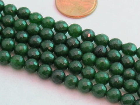 Mountain Jade (Dyed) Dark Green 6mm Faceted Round 15.5'' 62pcs Per Strand