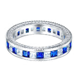Boruo 925 Sterling Silver Ring-Blue and White