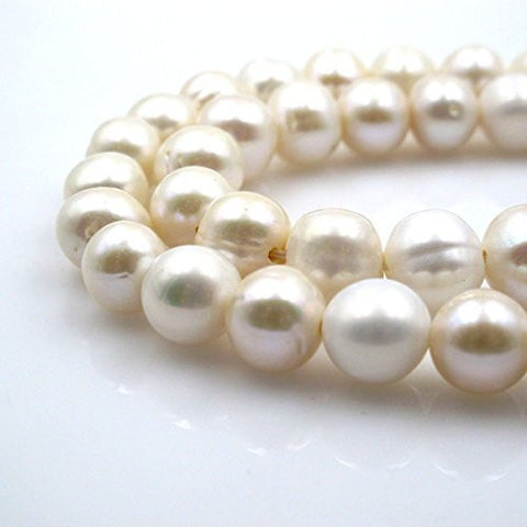 BRC Beads Fresh Water Pearl Natural Pearl Round Shape White 10-11mm 15.5 Inch Large Hole(2.5mm)Approxi 32pcs Cultured Freshwater Pearls