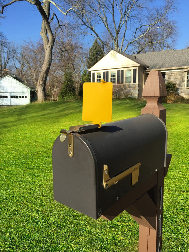 Mail Time!  Yellow mailbox alert flag pops up to let you know your mail's been delivered.