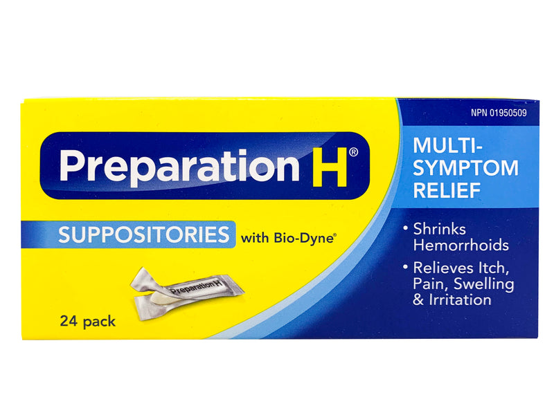 Preparation H Suppositories with Biodyne 24 pack