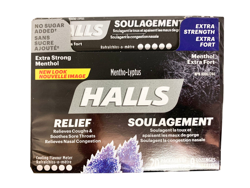 Halls Extra Strength Menthol, No Sugar Added