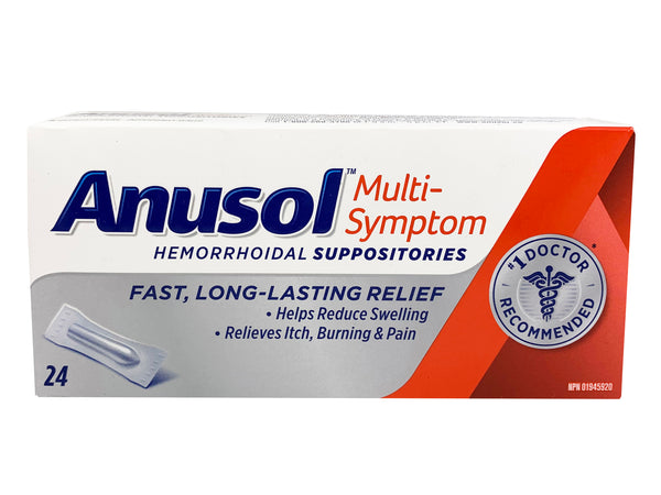 Anusol Regular Pain Relief  Hemorrhoidal Suppositories (24 Pack)