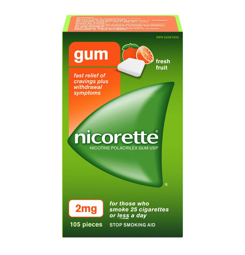 Nicorette Chewing Gum 2mg Fresh Fruit (105)
