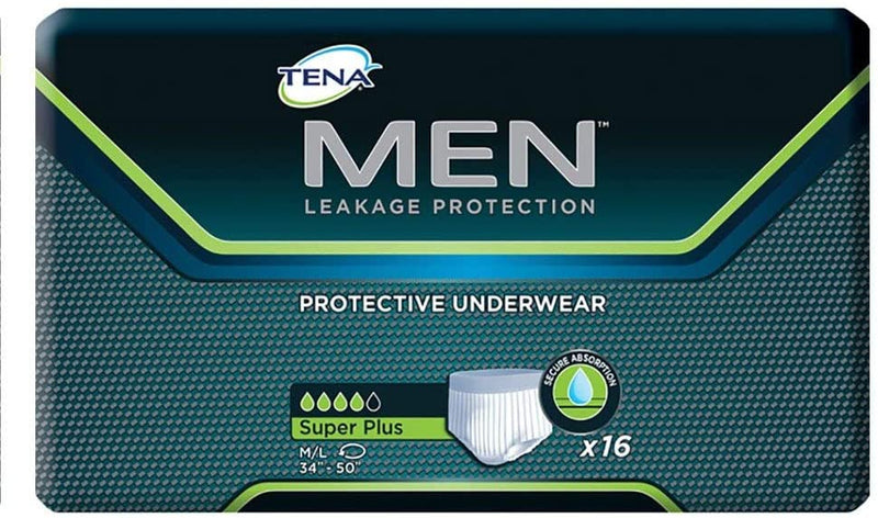 Tena Men's Super Plus Underwear M/L 16 Count