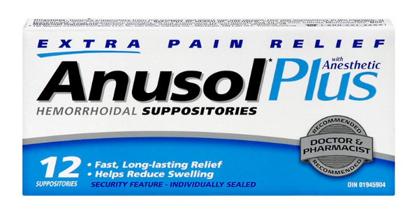 Anusol Plus Hemorrhoidal Suppositories (12 Pack)