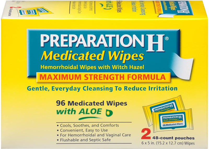 Preparation H Medicated Wipes with Aloe + Witch Hazel (96)