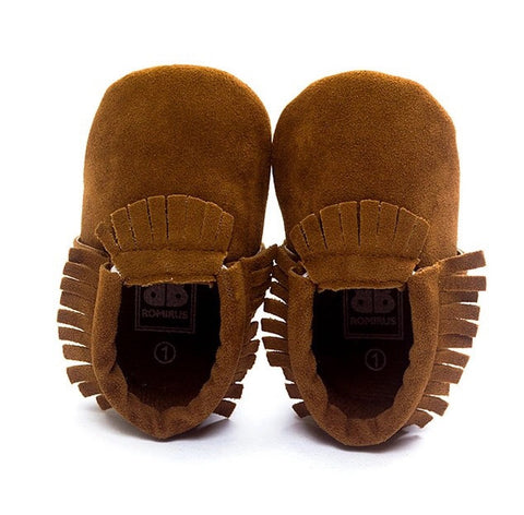 Moccasins - Brown Fringe