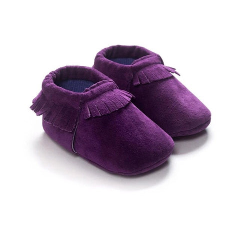Moccasins - Deep Purple Fringe