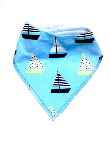 Yellow and Navy Sailboats Bandana Drool Bib
