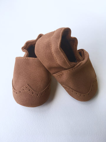 Nubuck Suede Moccasins (Genuine Leather) - Brown
