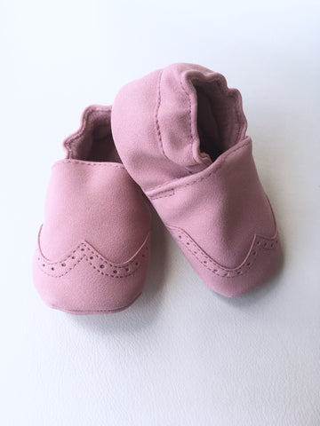 Nubuck Suede Moccasins (Genuine Leather) - Soft Pink