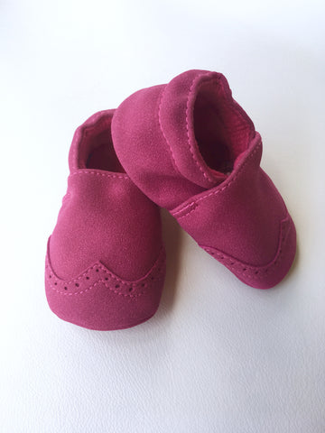 Nubuck Suede Moccasins (Genuine Leather) - Hot Pink