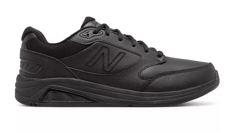 All black leather walking or running shoes