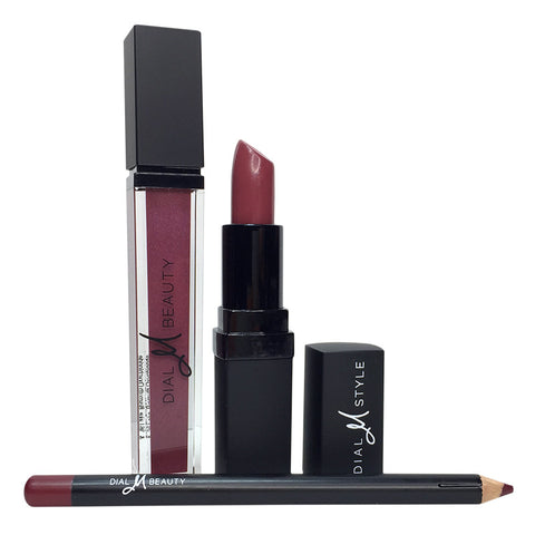 Berry Lip Kit - Lipstick, Lipgloss, and Lip Pencil with Gift Box