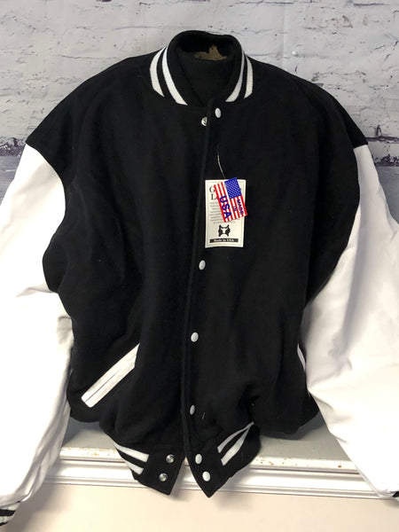 Black Wool Body with White Leather Sleeves Varsity School Letterman Jacket